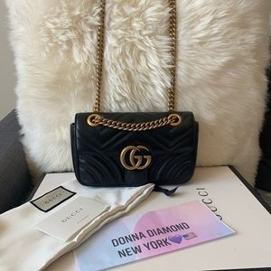 Gucci Flap Marmont GG Matelasse Small BlackLeather